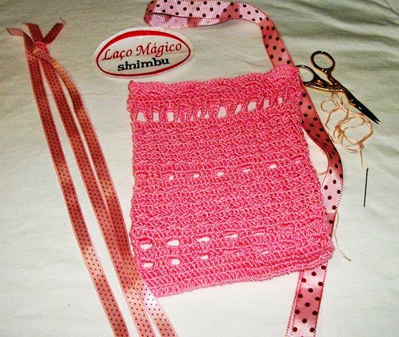 32 Passo a passo – Sacolinha em crochê decorada com fitas