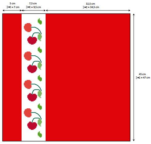 33 Passo a passo – Panos de copa vermelhos com cerejinhas