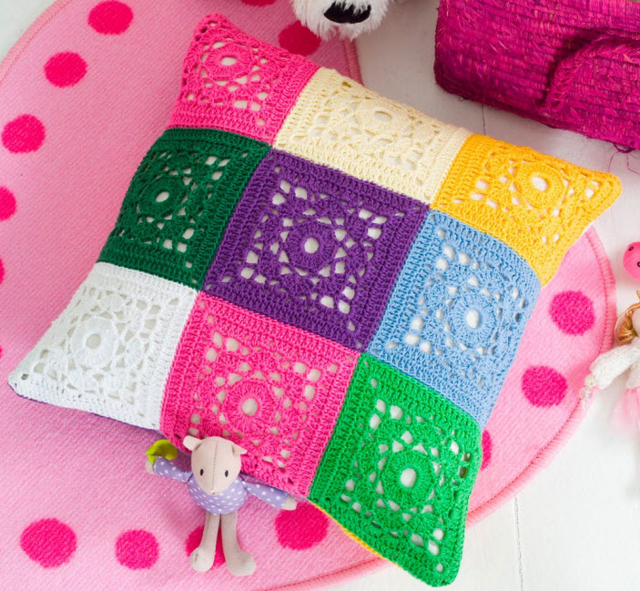 Passo a passo – Almofada com squares coloridos